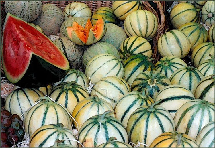Melons at Outdoor Market, Paris